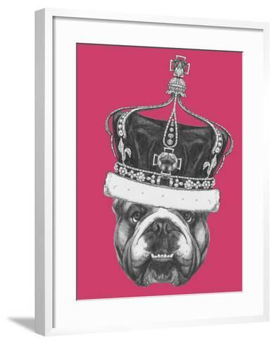 Original Drawing of English Bulldog with Crown. Isolated on Colored Background-victoria_novak-Framed Art Print