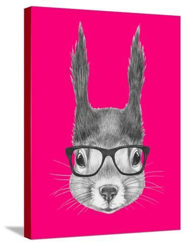 Portrait of Squirrel with Glasses. Hand Drawn Illustration.-victoria_novak-Stretched Canvas Print