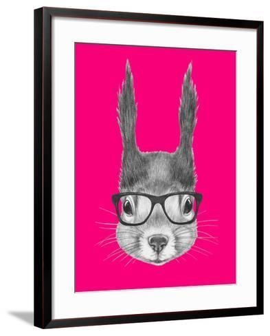 Portrait of Squirrel with Glasses. Hand Drawn Illustration.-victoria_novak-Framed Art Print