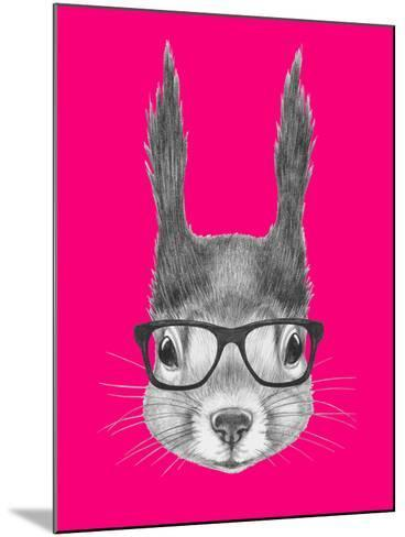 Portrait of Squirrel with Glasses. Hand Drawn Illustration.-victoria_novak-Mounted Art Print
