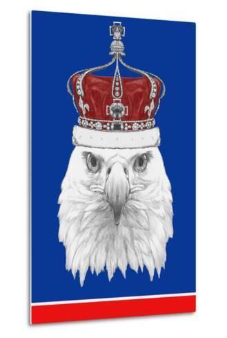 Portrait of Eagle with Crown. Hand Drawn Illustration.-victoria_novak-Metal Print