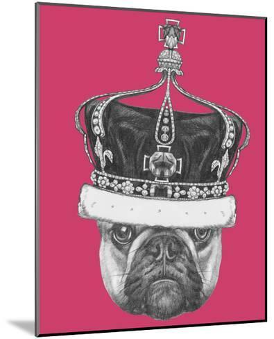 Original Drawing of French Bulldog with Crown. Isolated on Colored Background-victoria_novak-Mounted Art Print