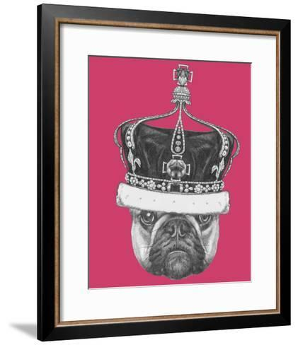 Original Drawing of French Bulldog with Crown. Isolated on Colored Background-victoria_novak-Framed Art Print