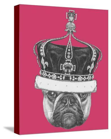 Original Drawing of French Bulldog with Crown. Isolated on Colored Background-victoria_novak-Stretched Canvas Print