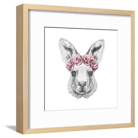 Portrait of Kangaroo with Floral Head Wreath. Hand Drawn Illustration.-victoria_novak-Framed Art Print