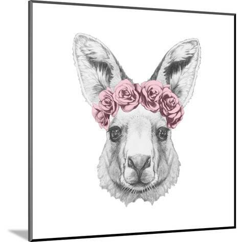 Portrait of Kangaroo with Floral Head Wreath. Hand Drawn Illustration.-victoria_novak-Mounted Art Print
