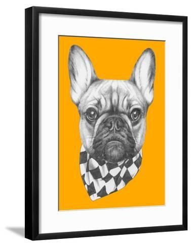 Original Drawing of French Bulldog with Scarf. Isolated on Colored Background-victoria_novak-Framed Art Print
