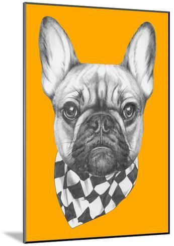 Original Drawing of French Bulldog with Scarf. Isolated on Colored Background-victoria_novak-Mounted Art Print