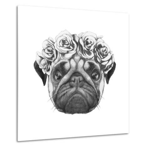 Original Drawing of Pug Dog with Floral Head Wreath. Isolated on White Background-victoria_novak-Metal Print