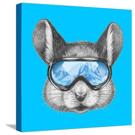 Portrait of Mouse with Ski Goggles. Hand Drawn Illustration.-victoria_novak-Stretched Canvas Print