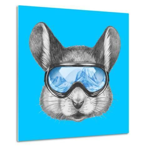 Portrait of Mouse with Ski Goggles. Hand Drawn Illustration.-victoria_novak-Metal Print