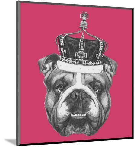 Original Drawing of English Bulldog with Crown. Isolated on Colored Background-victoria_novak-Mounted Art Print