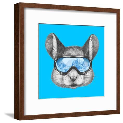 Portrait of Mouse with Ski Goggles. Hand Drawn Illustration.-victoria_novak-Framed Art Print