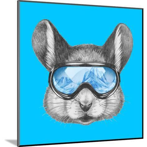 Portrait of Mouse with Ski Goggles. Hand Drawn Illustration.-victoria_novak-Mounted Art Print