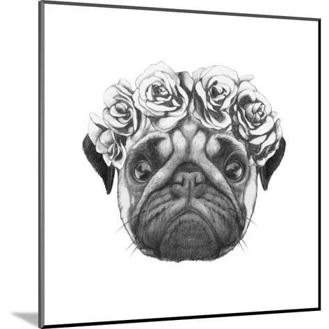 Original Drawing of Pug Dog with Floral Head Wreath. Isolated on White Background-victoria_novak-Mounted Art Print