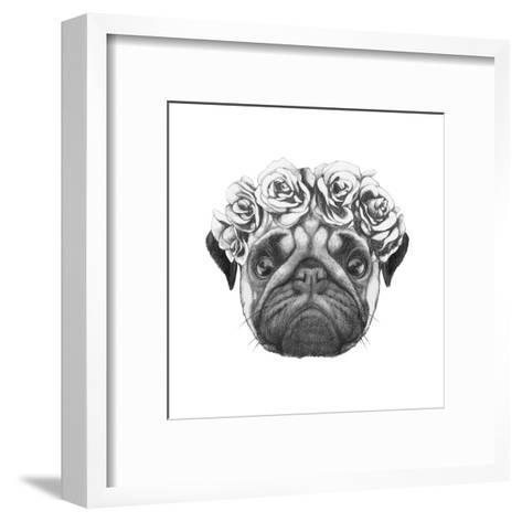 Original Drawing of Pug Dog with Floral Head Wreath. Isolated on White Background-victoria_novak-Framed Art Print