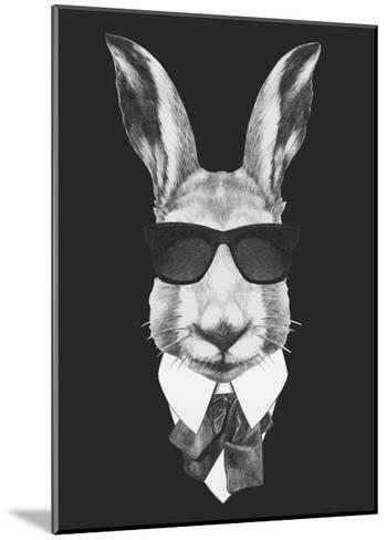 Portrait of Hare in Suit. Hand Drawn Illustration.-victoria_novak-Mounted Art Print