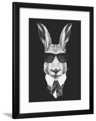 Portrait of Hare in Suit. Hand Drawn Illustration.-victoria_novak-Framed Art Print