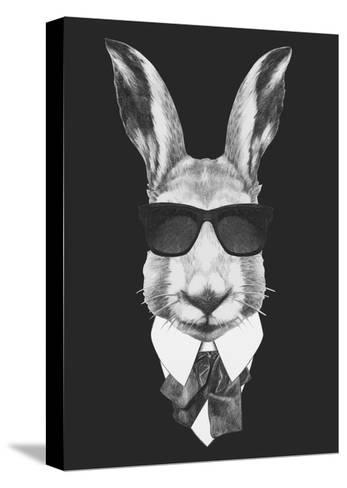 Portrait of Hare in Suit. Hand Drawn Illustration.-victoria_novak-Stretched Canvas Print