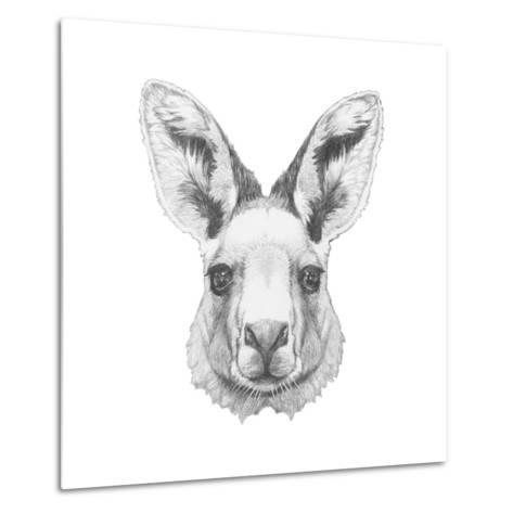 Portrait of Mongoose with Mirror Sunglasses. Hand Drawn Illustration.-victoria_novak-Metal Print