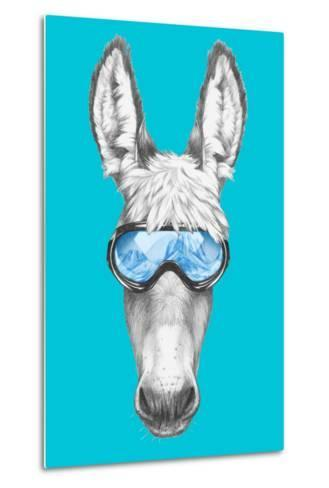 Portrait of Donkey with Ski Goggles. Hand Drawn Illustration.-victoria_novak-Metal Print