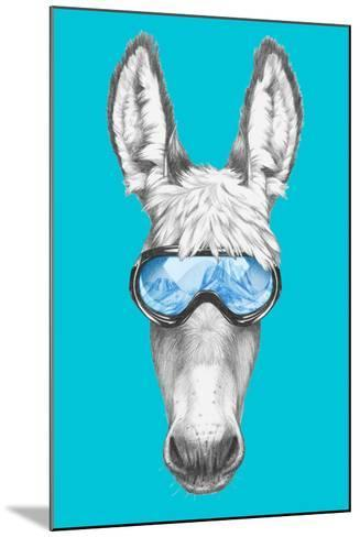 Portrait of Donkey with Ski Goggles. Hand Drawn Illustration.-victoria_novak-Mounted Art Print