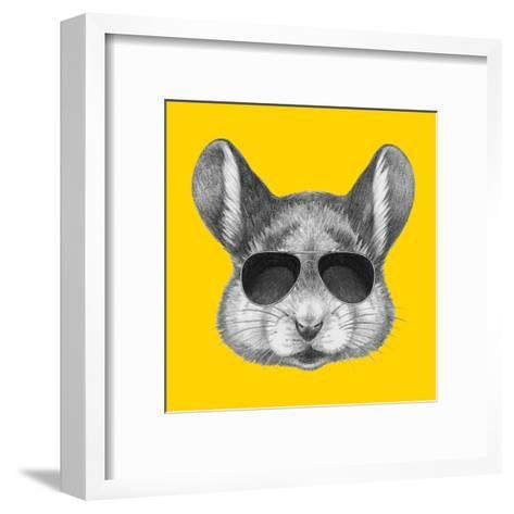 Portrait of Mouse with Sunglasses. Hand Drawn Illustration.-victoria_novak-Framed Art Print