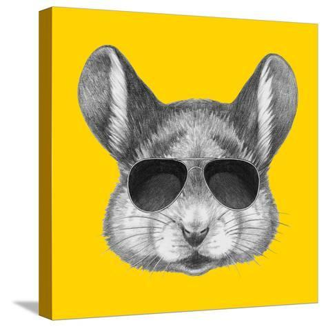 Portrait of Mouse with Sunglasses. Hand Drawn Illustration.-victoria_novak-Stretched Canvas Print
