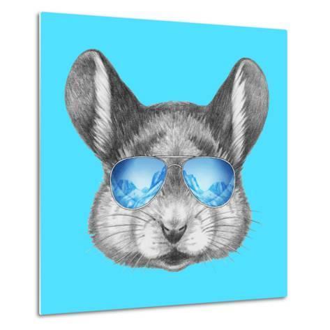 Portrait of Mouse with Mirror Sunglasses . Hand Drawn Illustration.-victoria_novak-Metal Print