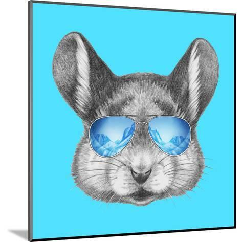 Portrait of Mouse with Mirror Sunglasses . Hand Drawn Illustration.-victoria_novak-Mounted Art Print