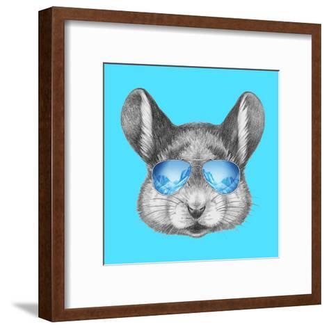 Portrait of Mouse with Mirror Sunglasses . Hand Drawn Illustration.-victoria_novak-Framed Art Print