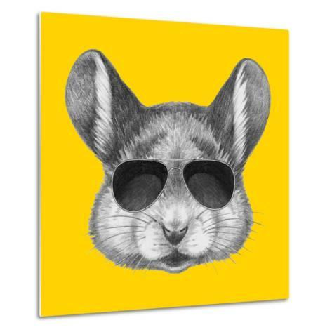 Portrait of Mouse with Sunglasses. Hand Drawn Illustration.-victoria_novak-Metal Print