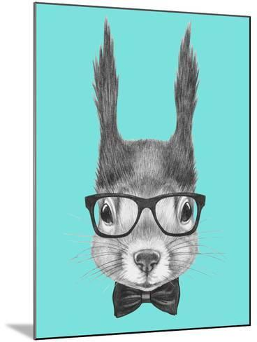 Portrait of Squirrel with Glasses and Bow Tie . Hand Drawn Illustration.-victoria_novak-Mounted Art Print