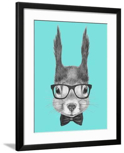 Portrait of Squirrel with Glasses and Bow Tie . Hand Drawn Illustration.-victoria_novak-Framed Art Print