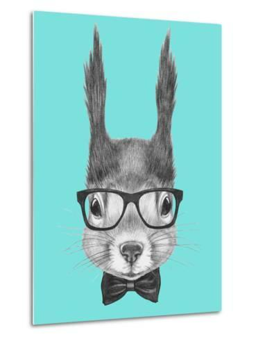 Portrait of Squirrel with Glasses and Bow Tie . Hand Drawn Illustration.-victoria_novak-Metal Print