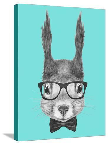 Portrait of Squirrel with Glasses and Bow Tie . Hand Drawn Illustration.-victoria_novak-Stretched Canvas Print
