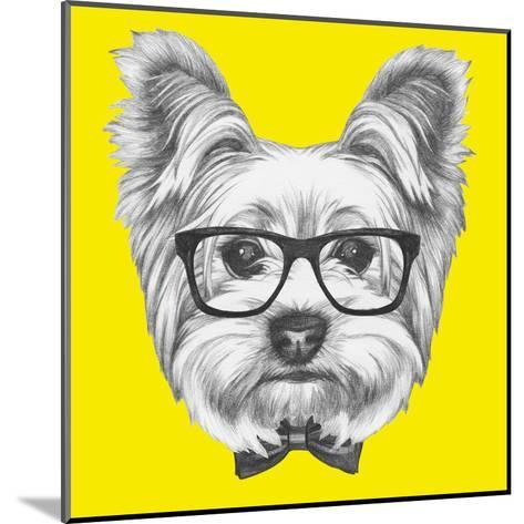 Portrait of Yorkshire Terrier Dog with Glasses and Bow Tie. Hand Drawn Illustration.-victoria_novak-Mounted Art Print