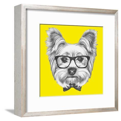 Portrait of Yorkshire Terrier Dog with Glasses and Bow Tie. Hand Drawn Illustration.-victoria_novak-Framed Art Print