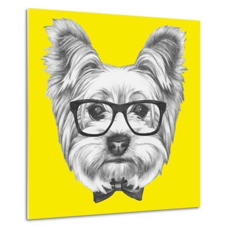 Portrait of Yorkshire Terrier Dog with Glasses and Bow Tie. Hand Drawn Illustration.-victoria_novak-Metal Print