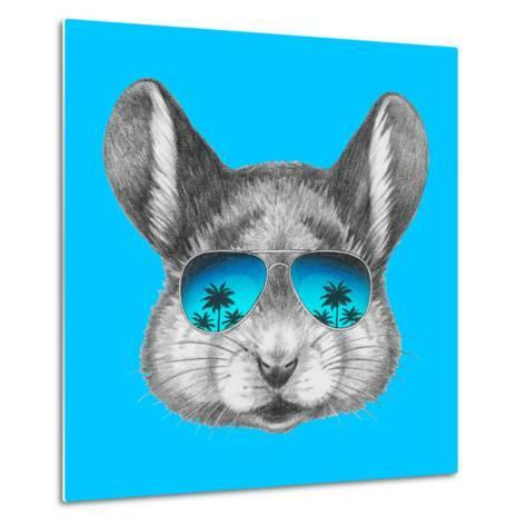 Portrait of Mouse with Mirror Sunglasses . Hand Drawn Illustration.-victoria_novak-Metal Print