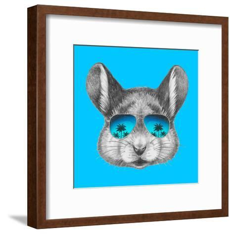 Portrait of Mouse with Mirror Sunglasses . Hand Drawn Illustration.-victoria_novak-Framed Art Print
