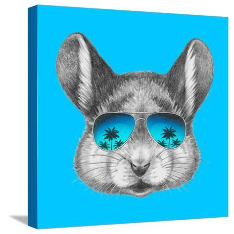 Portrait of Mouse with Mirror Sunglasses . Hand Drawn Illustration.-victoria_novak-Stretched Canvas Print