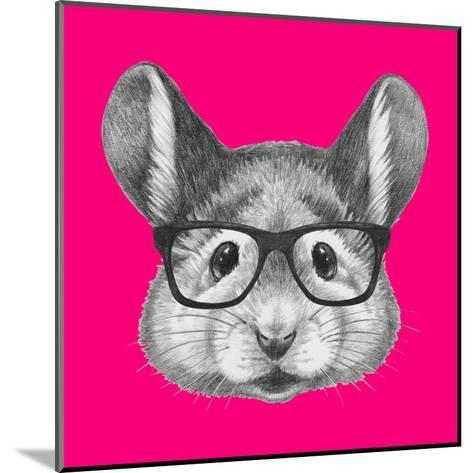 Portrait of Mouse with Glasses. Hand Drawn Illustration.-victoria_novak-Mounted Art Print