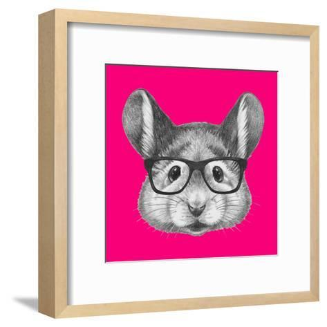 Portrait of Mouse with Glasses. Hand Drawn Illustration.-victoria_novak-Framed Art Print