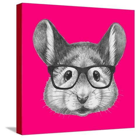 Portrait of Mouse with Glasses. Hand Drawn Illustration.-victoria_novak-Stretched Canvas Print