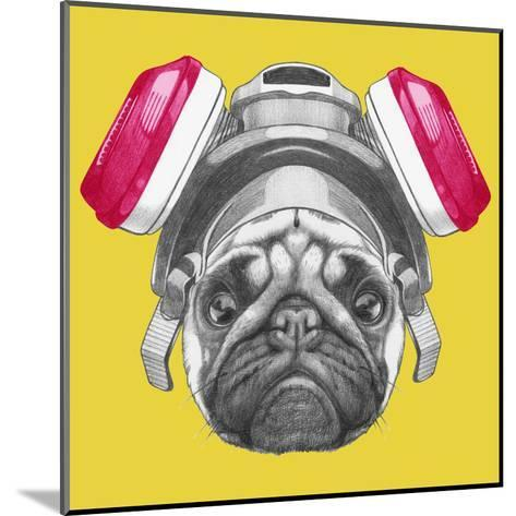 Portrait of Pug Dog with Gas Mask. Hand Drawn Illustration.-victoria_novak-Mounted Art Print