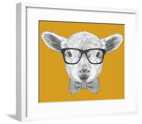 Portrait of Lamb with Glasses and Bow Tie. Hand Drawn Illustration.-victoria_novak-Framed Art Print