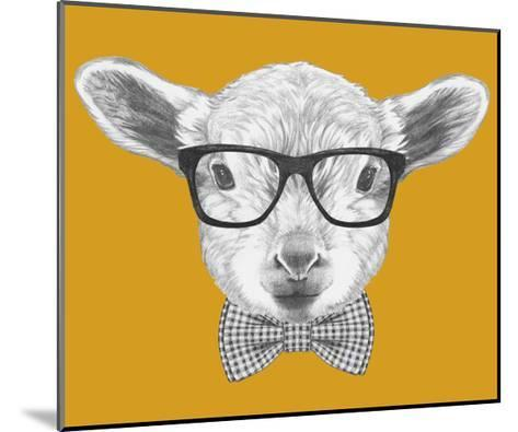 Portrait of Lamb with Glasses and Bow Tie. Hand Drawn Illustration.-victoria_novak-Mounted Art Print