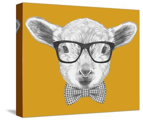 Portrait of Lamb with Glasses and Bow Tie. Hand Drawn Illustration.-victoria_novak-Stretched Canvas Print