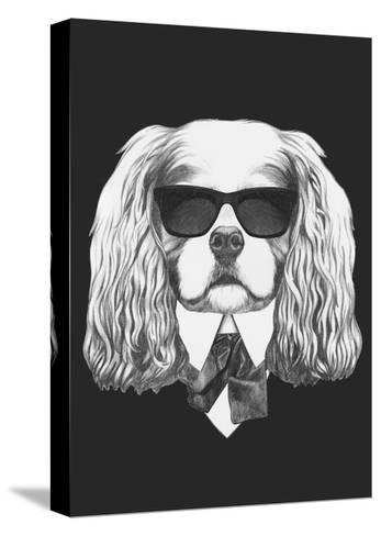 Portrait of Cavalier King Charles Spaniel in Suit. Hand Drawn Illustration.-victoria_novak-Stretched Canvas Print